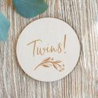 Twins Milestone engraved wooden Disc