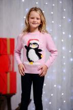 Kids Eyelash Yarn Penguin Christmas Jumper
