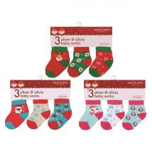 3 pack Oliver and Olivia baby Christmas Socks ( 0-6 months)