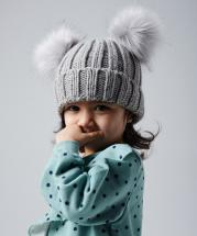 Infant Double Pom Pom Winter Knitted Warm Thick Beanie Cap