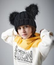 Junior Double Pom Pom Winter Knitted Warm Thick Beanie Cap